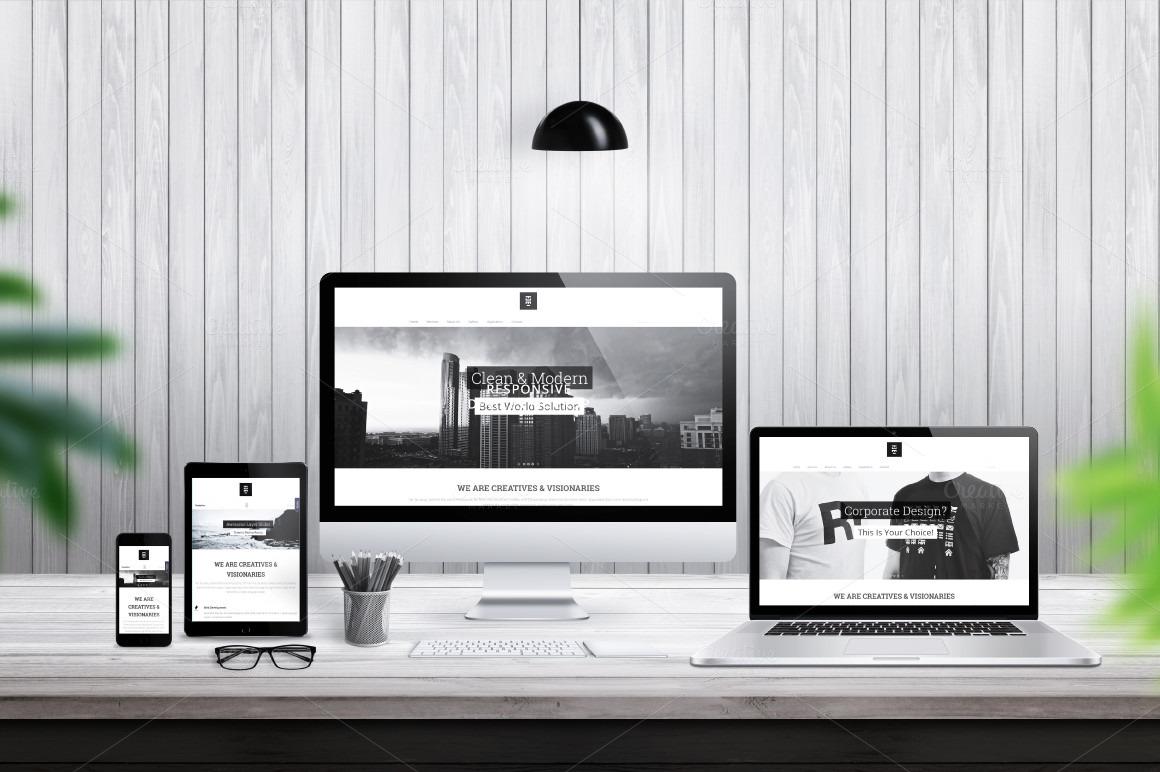 iMac, MacBook, iPad and iPhone responsive mockup