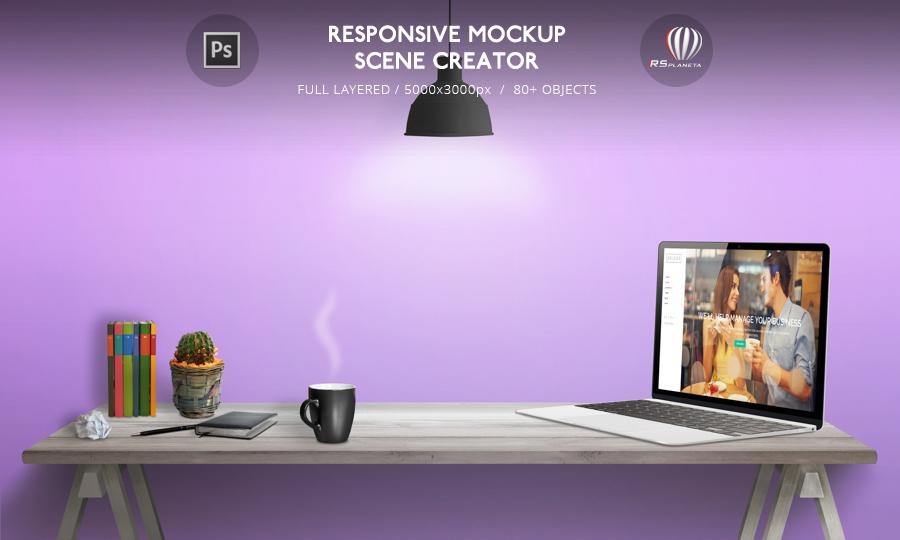 MacBook Responsive Mockup Scene Creator