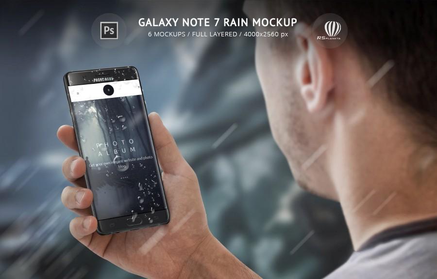 Samsung Galaxy Note 7 Rain Mockup
