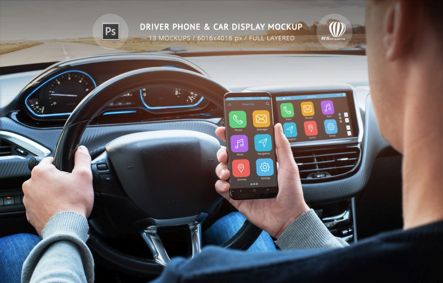 Driver Phone & Car Display Mockup