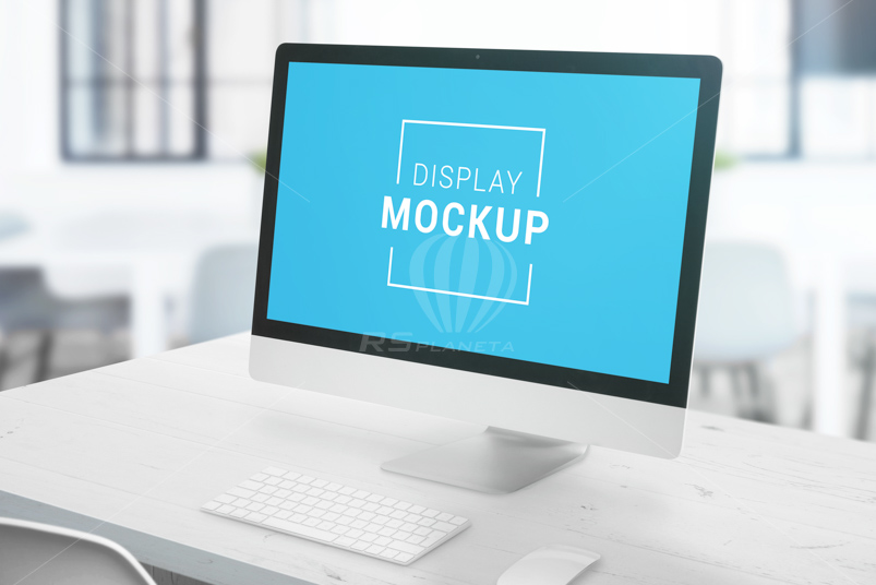 iMac display mockup on office desk. Clean white wooden table with keyboard and mouse. Smart object display for app or web site design presentation