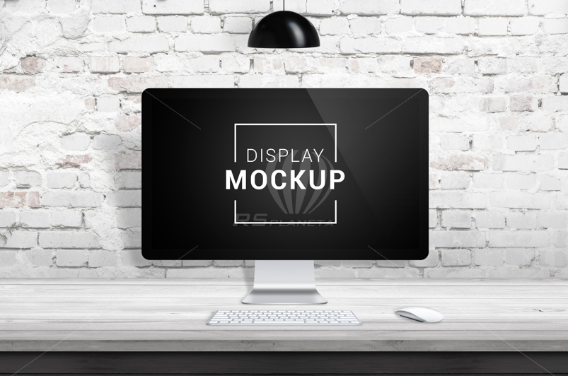 iMac display mockup on wooden desk with brick wall in background and black lamp on top. Separated layers for scene creation. Screen smart object for app or web page design presentation