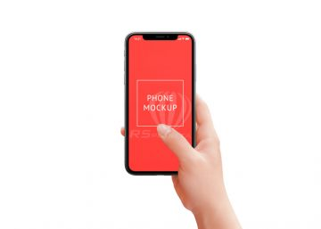 iPhone X mockup in woman hand with isolated layers, background separated. Retouched woman hand holds the phone with her thumb touching the surface of the screen
